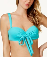 Coco Reef Solid Convertible Five Way Bikini Top Women's Swimsuit Sea Blue