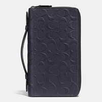 Coach Double Zip Travel Organizer In Signature Crossgrain Leather Midnight