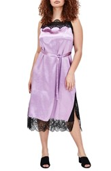 Elvi Plus Size Halite Lace Trim Midi Slipdress Purple