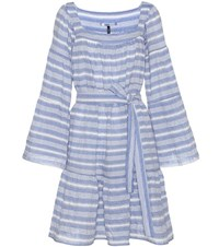 Lisa Marie Fernandez Striped Cotton Seersucker Dress Blue