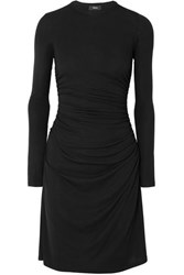 Theory Ruched Stretch Jersey Dress Black