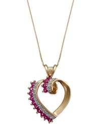 Macy's Ruby 3 4 Ct. T.W. And Diamond 1 8 Ct. T.W. Heart Pendant In 14K Gold
