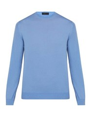 Prada Crew Neck Wool Sweater Blue