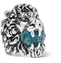 Gucci Lion's Head Silver Tone Swarovski Crystal Ring Silver