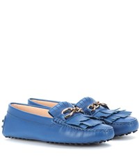 Tod's Heaven Frangia Leather Loafers Blue