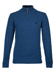 Raging Bull Cable Knit Quarter Zip Blue