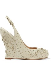 Valentino Embellished Leather Wedges Mint
