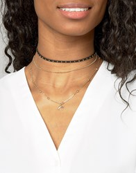 Asos Studded Ball Chain Multirow Necklace Gold