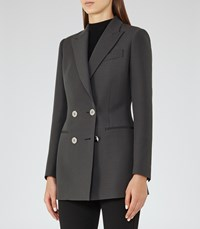 Reiss Cameo Womens Double Breasted Blazer In Grey