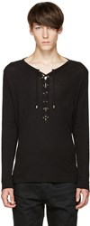 Balmain Black Lace Up T Shirt