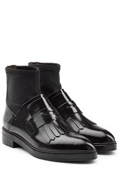 Steffen Schraut Patent Leather Fringed Loafer Ankle Boots Black