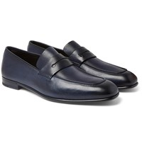 Ermenegildo Zegna Asola Leather Penny Loafers Blue