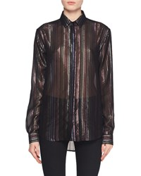 Saint Laurent Long Sleeve Multicolor Metallic Striped Blouse Black Pattern