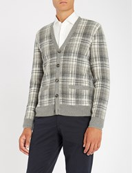 Ralph Lauren Purple Label Tablecloth Checked Cashmere Cardigan Grey