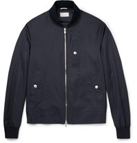 Brunello Cucinelli Virgin Wool And Silk Blend Bomber Jacket Navy