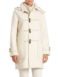 Polo Ralph Lauren Hooded Wool Blend Toggle Coat Winter Cream
