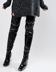 Asos Kalida Clear Heel Over The Knee Boots Black Patent