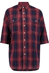 R 13 R13 Oversized Checked Cotton And Linen Blend Shirt Red