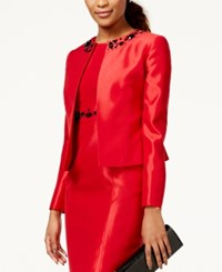 Kasper Petite Bead Trim Shantung Jacket Fire Red