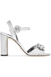 Dolce And Gabbana Bianca Crystal Embellished Sliced Metallic Leather Sandals Silver