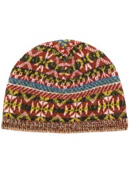 Pringle Of Scotland Fairisle Jacquard Beanie Cashmere Wool Brown