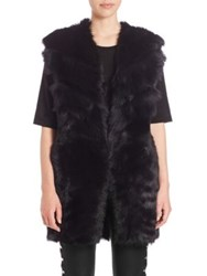Iro Reversible Fur Vest Black Dark Navy