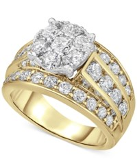 Macy's Diamond Cluster Engagement Ring 3 Ct. T.W. In 14K Gold Yellow Gold