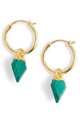 Missoma Mini Shield Hoop Earrings Malachite Gold