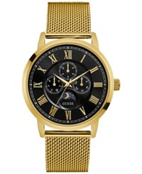 Guess Men's Gold Tone Stainless Steel Mesh Bracelet Watch 43Mm U0871g2