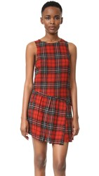 R 13 Asymmetrical Kilt Dress Red Plaid 12