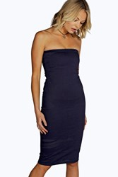 Boohoo Denim Bandeau Bodycon Dress Dark Blue