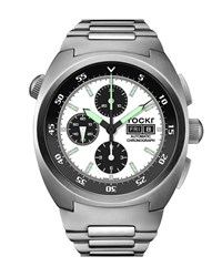 Tockr Watches Air Defender Panda Stainless Steel Chronograph Watch With Bracelet White Black