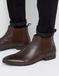 Dune Mister Chelsea Boots In Brown Leather Brown