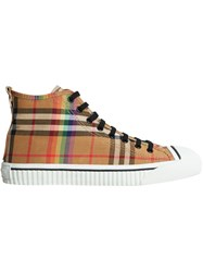 Burberry Rainbow Vintage Check Sneakers Brown
