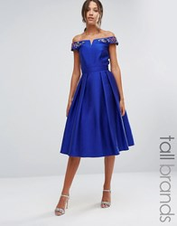 Little Mistress Tall Off Shoulder Bardot Midi Prom Dress With Floral Embellished Shoulders Cobalt Blue