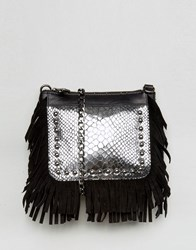Urbancode Real Leather Fringed Cross Body Bag With Silver Emobossed Croc Black