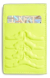 Men's Alexander Mcqueen Rib Cage Leather Card Holder Yellow Neon Yellow