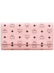 Mcm Logo Print Continental Wallet Pink And Purple