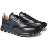 Officine Creative Race Lux Burnished Leather Sneakers Navy
