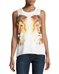 Chaser Reflected Lions Graphic Tank White