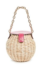 Frances Valentine Honeypot Crossbody Bag Natural Bright Pink