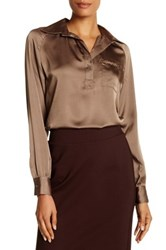 Insight Placket Long Sleeve Blouse Gray