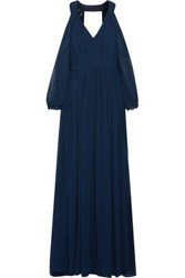 Mikael Aghal Cutout Pleated Chiffon Gown Midnight Blue