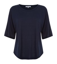 Helmut Lang Wide Neck Half Sleeve T Shirt Female Navy