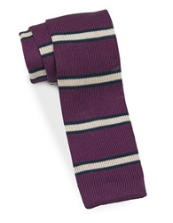 Brooks Brothers Striped Knit Silk Tie Purple