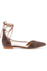 Schutz Neida Snake Effect Leather Point Toe Flats Dark Brown