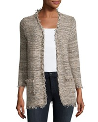 Joie Philisa Tweed Fringe Trim Open Front Jacket Gray