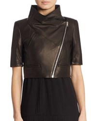 Yigal Azrouel Cropped Short Sleeve Leather Jacket Black