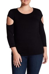 14Th And Union 3 4 Length Sleeve Cutout Shirt Plus Size Black