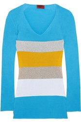 Missoni Color Block Ribbed Cotton Sweater Blue